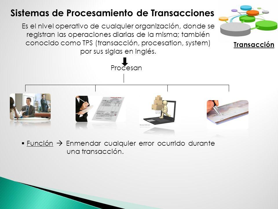 Sistemas de Procesamiento de Transacciones Es el nivel operativo de cualquier organización, donde se registran las operaciones diarias de la misma; ta