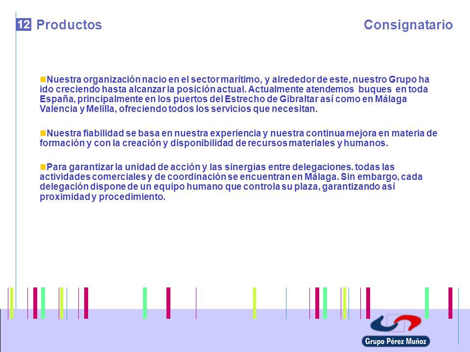 12 ProductosConsignatario Nuestra organización nacio en el sector marítimo, y alrededor de este, nuestro Grupo ha ido creciendo hasta alcanzar la posi