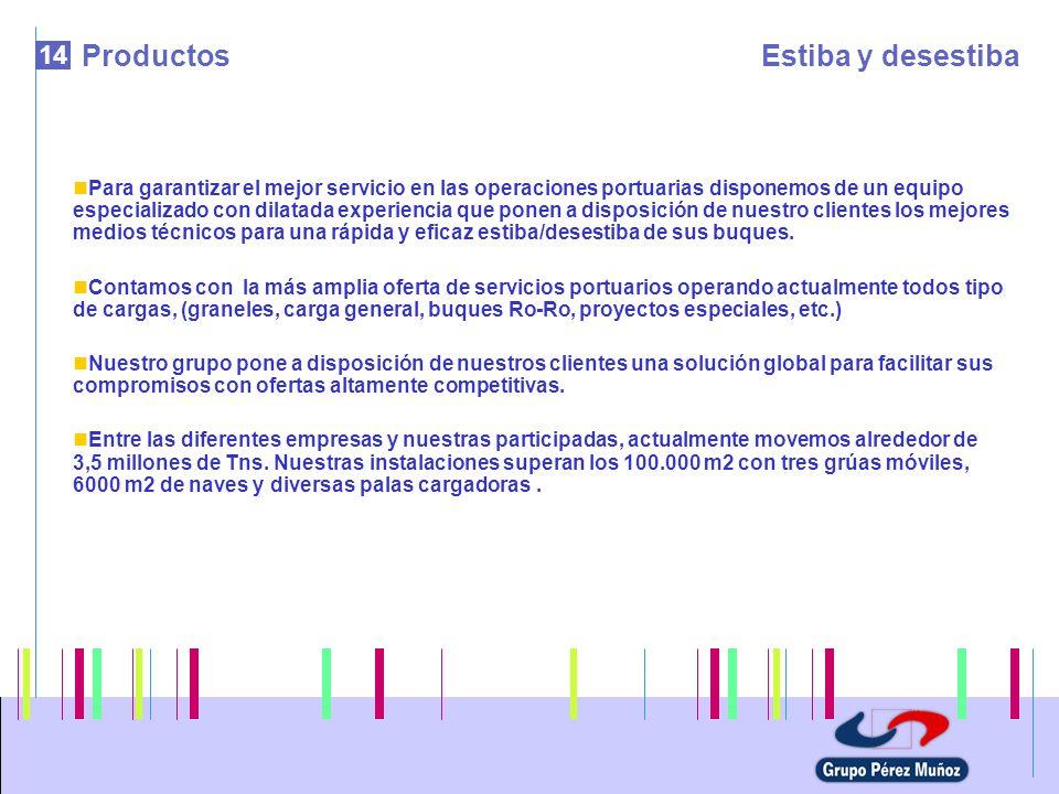 14 ProductosEstiba y desestiba Para garantizar el mejor servicio en las operaciones portuarias disponemos de un equipo especializado con dilatada expe