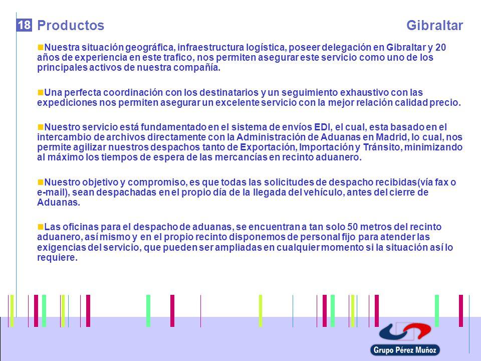 18 ProductosGibraltar Nuestra situación geográfica, infraestructura logística, poseer delegación en Gibraltar y 20 años de experiencia en este trafico