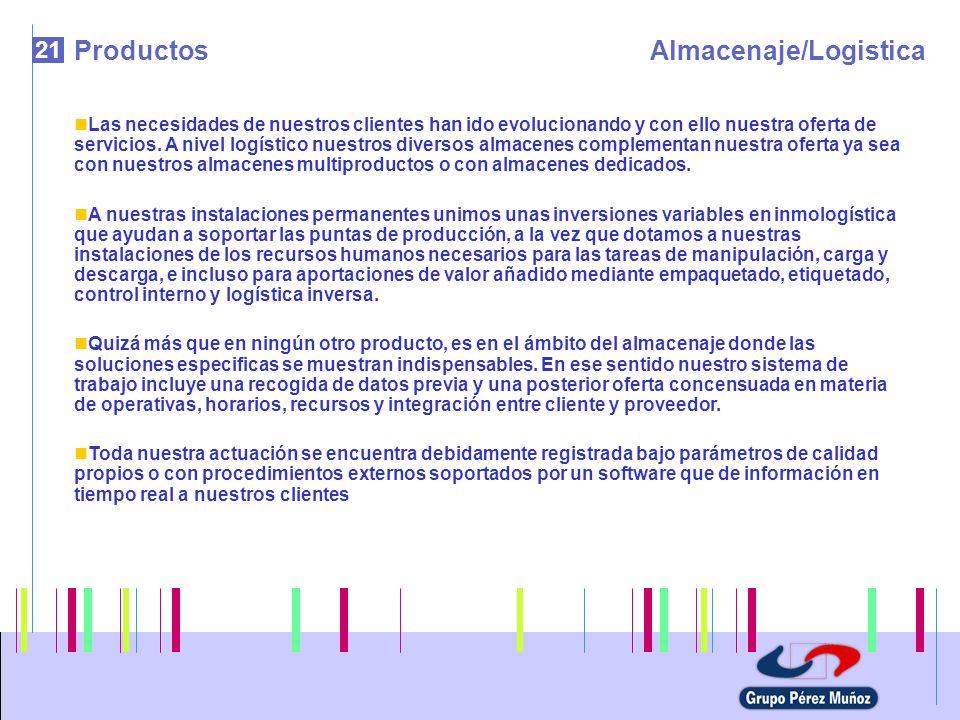 21 ProductosAlmacenaje/Logistica Las necesidades de nuestros clientes han ido evolucionando y con ello nuestra oferta de servicios. A nivel logístico