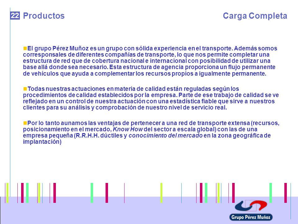 22 ProductosCarga Completa El grupo Pérez Muñoz es un grupo con sólida experiencia en el transporte. Además somos corresponsales de diferentes compañí