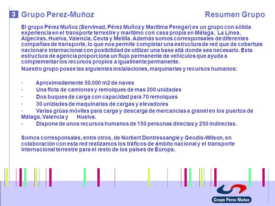 3 Grupo Perez-MuñozResumen Grupo El grupo Pérez Muñoz (Servimad, Pérez Muñoz y Marítima Peregar) es un grupo con sólida experiencia en el transporte t