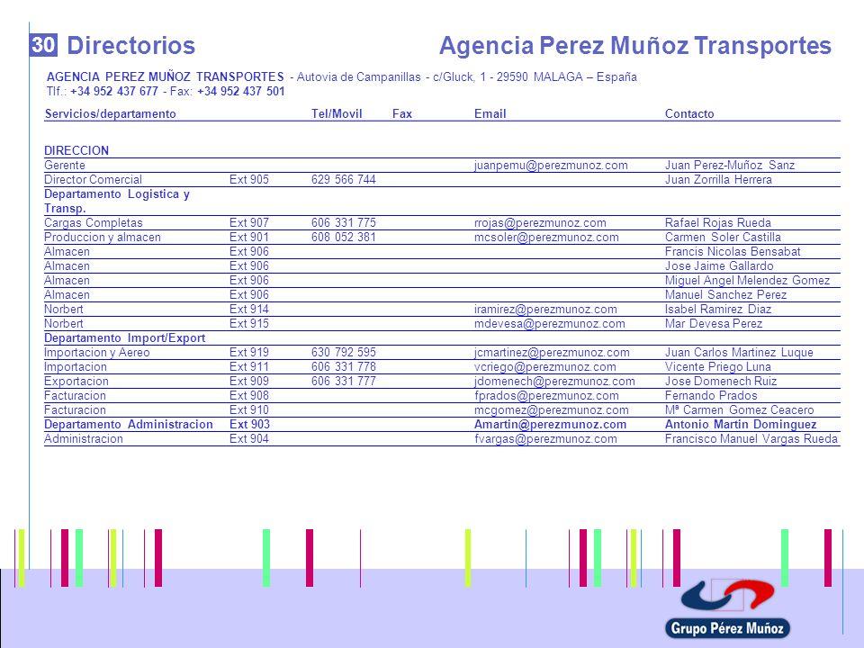 30 DirectoriosAgencia Perez Muñoz Transportes AGENCIA PEREZ MUÑOZ TRANSPORTES - Autovia de Campanillas - c/Gluck, 1 - 29590 MALAGA – España Tlf.: +34