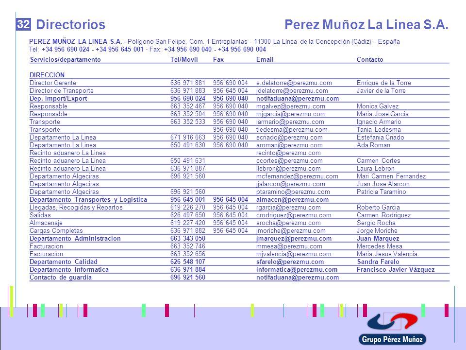 32 DirectoriosPerez Muñoz La Linea S.A. PEREZ MUÑOZ LA LINEA S.A. - Polígono San Felipe, Com. 1 Entreplantas - 11300 La Línea de la Concepción (Cádiz)