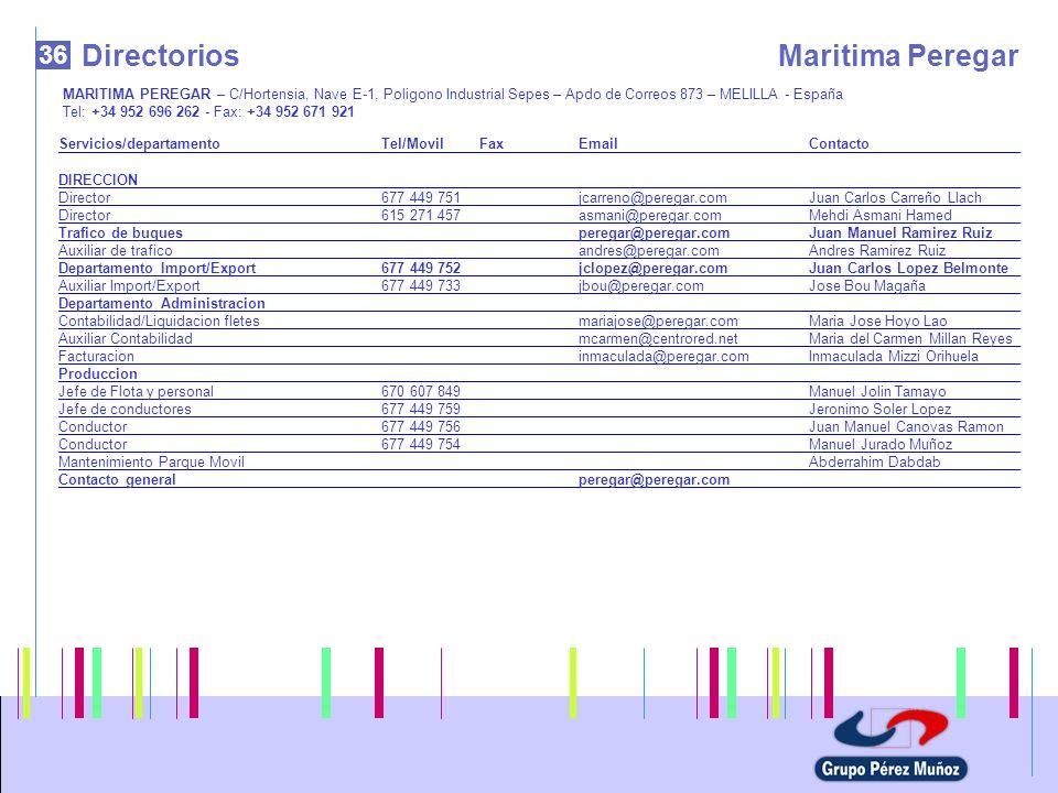 36 DirectoriosMaritima Peregar MARITIMA PEREGAR – C/Hortensia, Nave E-1, Poligono Industrial Sepes – Apdo de Correos 873 – MELILLA - España Tel: +34 9
