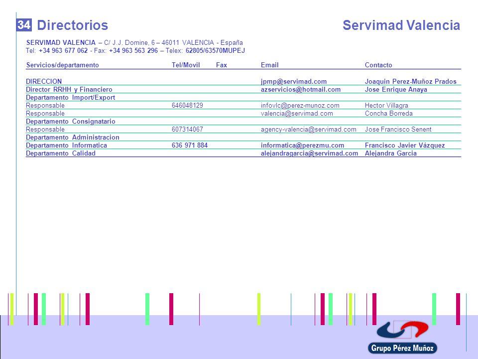 34 DirectoriosServimad Valencia SERVIMAD VALENCIA – C/ J.J. Domine, 6 – 46011 VALENCIA - España Tel: +34 963 677 062 - Fax: +34 963 563 296 – Telex: 6