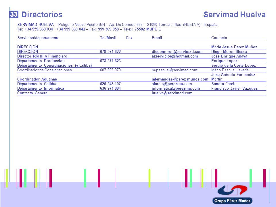 33 DirectoriosServimad Huelva SERVIMAD HUELVA – Poligono Nuevo Puerto S/N – Ap. De Correos 668 – 21080 Torrearenillas (HUELVA) - España Tel: +34 959 3