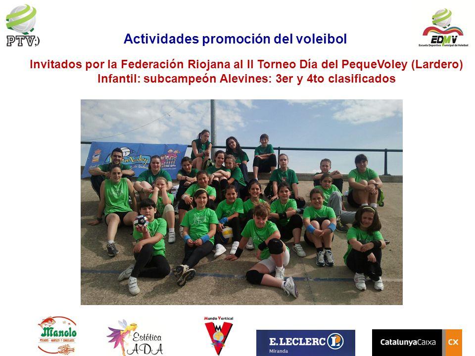 Invitados por la Federación Riojana al II Torneo Día del PequeVoley (Lardero) Infantil: subcampeón Alevines: 3er y 4to clasificados Actividades promoc