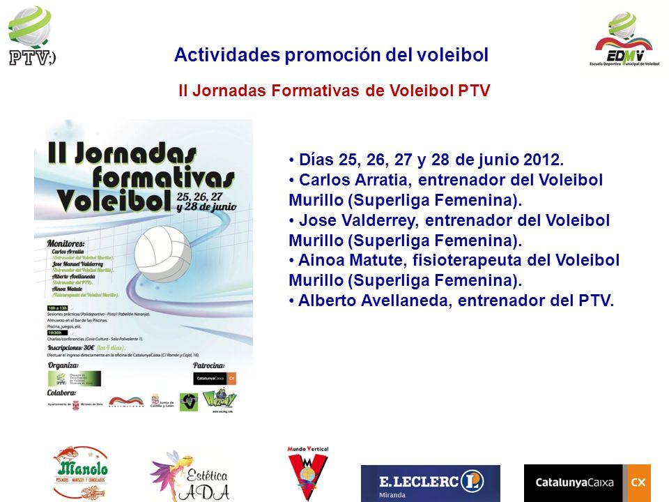 II Jornadas Formativas de Voleibol PTV Actividades promoción del voleibol Días 25, 26, 27 y 28 de junio 2012. Carlos Arratia, entrenador del Voleibol