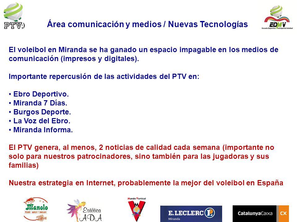 Área comunicación y medios / Nuevas Tecnologías El voleibol en Miranda se ha ganado un espacio impagable en los medios de comunicación (impresos y dig