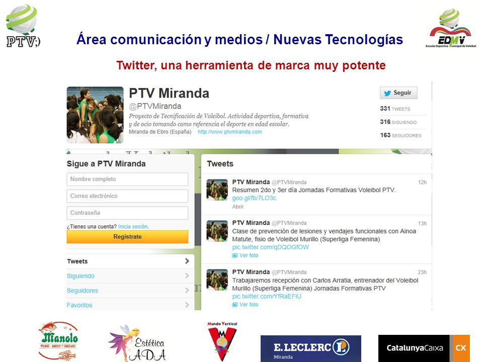 Twitter, una herramienta de marca muy potente Área comunicación y medios / Nuevas Tecnologías