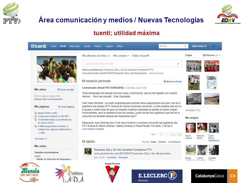 tuenti; utilidad máxima Área comunicación y medios / Nuevas Tecnologías