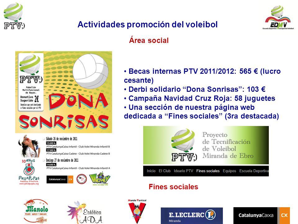 Área social Becas internas PTV 2011/2012: 565 (lucro cesante) Derbi solidario Dona Sonrisas: 103 Campaña Navidad Cruz Roja: 58 juguetes Una sección de