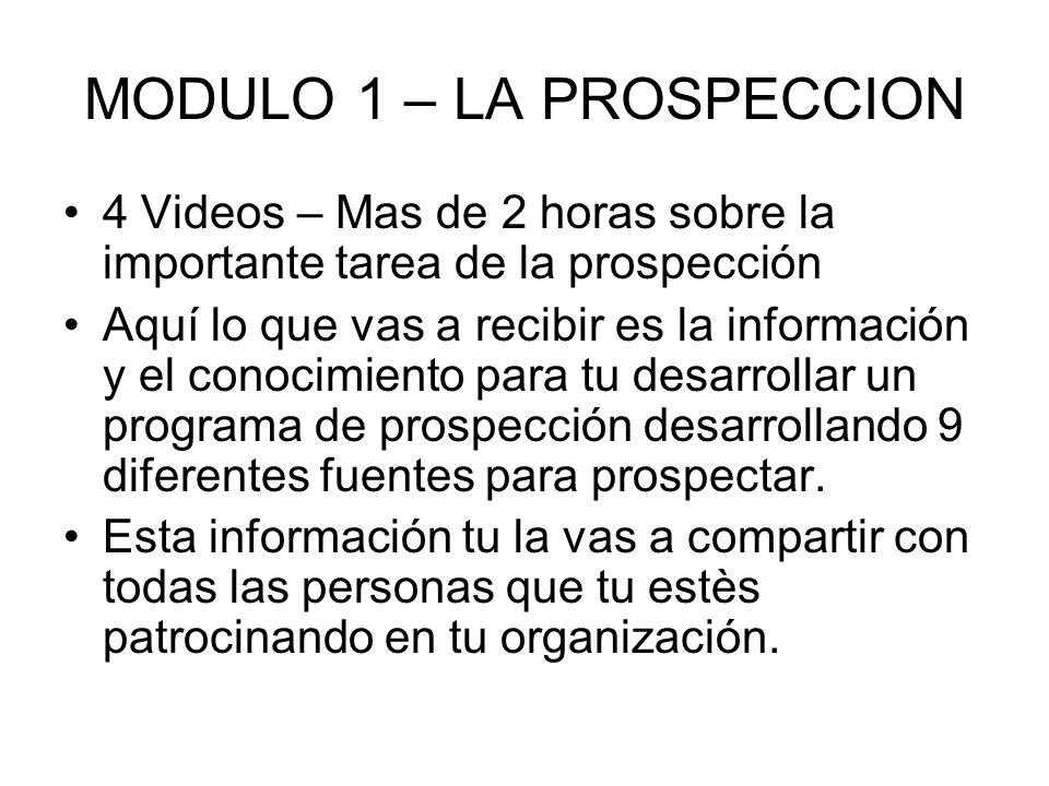 MODULO 1 – LA PROSPECCION 4 Videos – Mas de 2 horas sobre la importante tarea de la prospección Aquí lo que vas a recibir es la información y el conoc