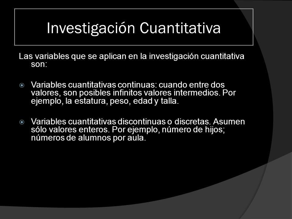 Investigación Cuantitativa Características de la Investigación Cuantitativa La Metodología Cuantitativa es aquella que permite examinar los datos de manera numérica, especialmente en el campo de la Estadística.