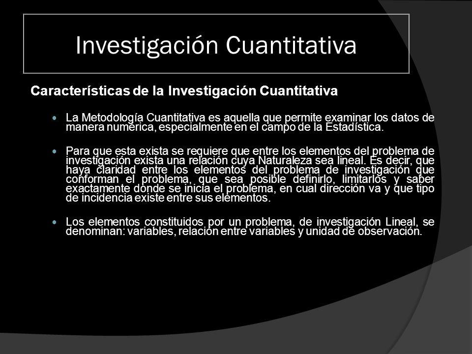 Investigación Cuantitativa Características de la Investigación Cuantitativa La Metodología Cuantitativa es aquella que permite examinar los datos de m