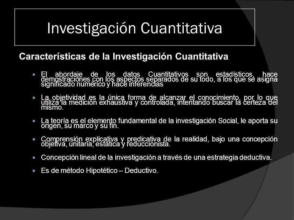 Investigación Cuantitativa Características de la Investigación Cuantitativa El abordaje de los datos Cuantitativos son estadísticos, hace demostracion