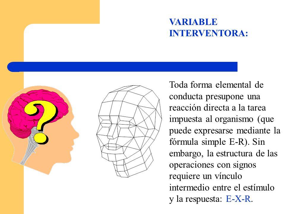 VARIABLE INTERVENTORA: Toda forma elemental de conducta presupone una reacción directa a la tarea impuesta al organismo (que puede expresarse mediante
