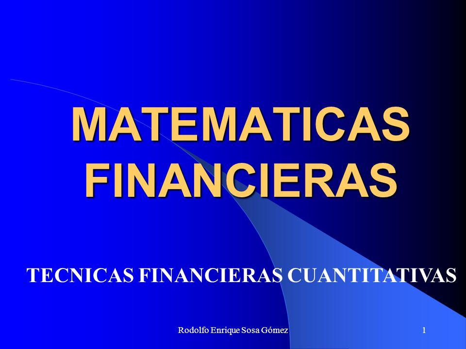 Rodolfo Enrique Sosa Gómez2 MATEMATICAS FINANCIERAS Las Matemáticas Financieras o Ingeniería Económica tienen como objetivo fundamental el estudio y análisis de todas aquellas operaciones y planteamientos en los cuales intervienen las magnitudes de: Capital, Interés, Tiempo y Tasa.