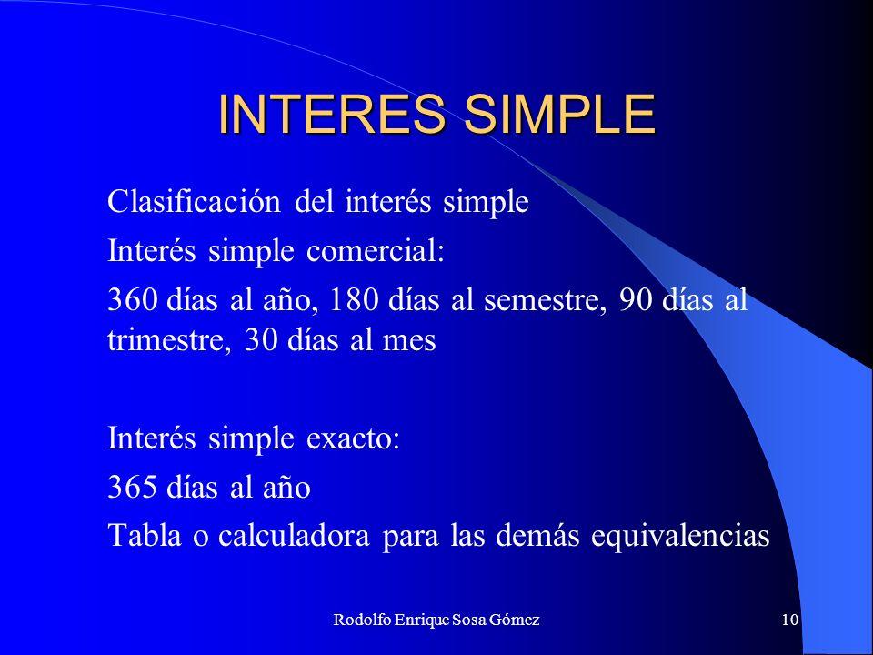 Rodolfo Enrique Sosa Gómez10 INTERES SIMPLE Clasificación del interés simple Interés simple comercial: 360 días al año, 180 días al semestre, 90 días