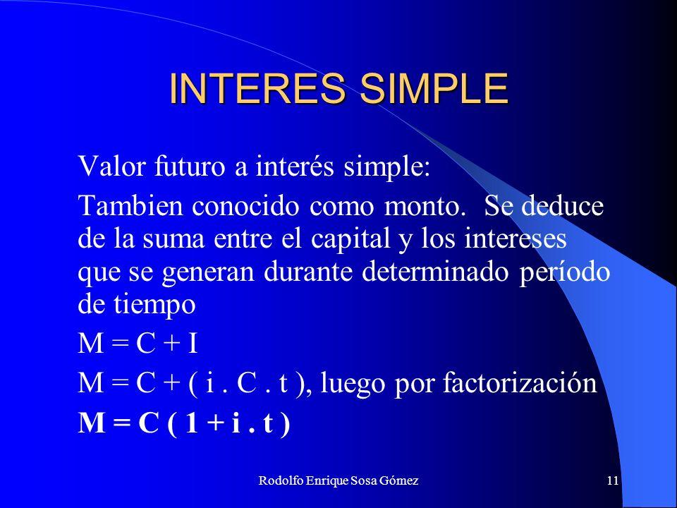 Rodolfo Enrique Sosa Gómez11 INTERES SIMPLE Valor futuro a interés simple: Tambien conocido como monto. Se deduce de la suma entre el capital y los in