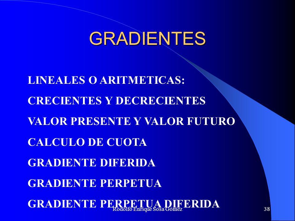 Rodolfo Enrique Sosa Gómez38 GRADIENTES LINEALES O ARITMETICAS: CRECIENTES Y DECRECIENTES VALOR PRESENTE Y VALOR FUTURO CALCULO DE CUOTA GRADIENTE DIF