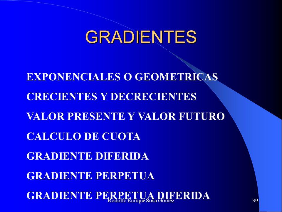 Rodolfo Enrique Sosa Gómez39 GRADIENTES EXPONENCIALES O GEOMETRICAS CRECIENTES Y DECRECIENTES VALOR PRESENTE Y VALOR FUTURO CALCULO DE CUOTA GRADIENTE
