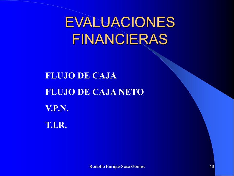 Rodolfo Enrique Sosa Gómez43 EVALUACIONES FINANCIERAS FLUJO DE CAJA FLUJO DE CAJA NETO V.P.N. T.I.R.