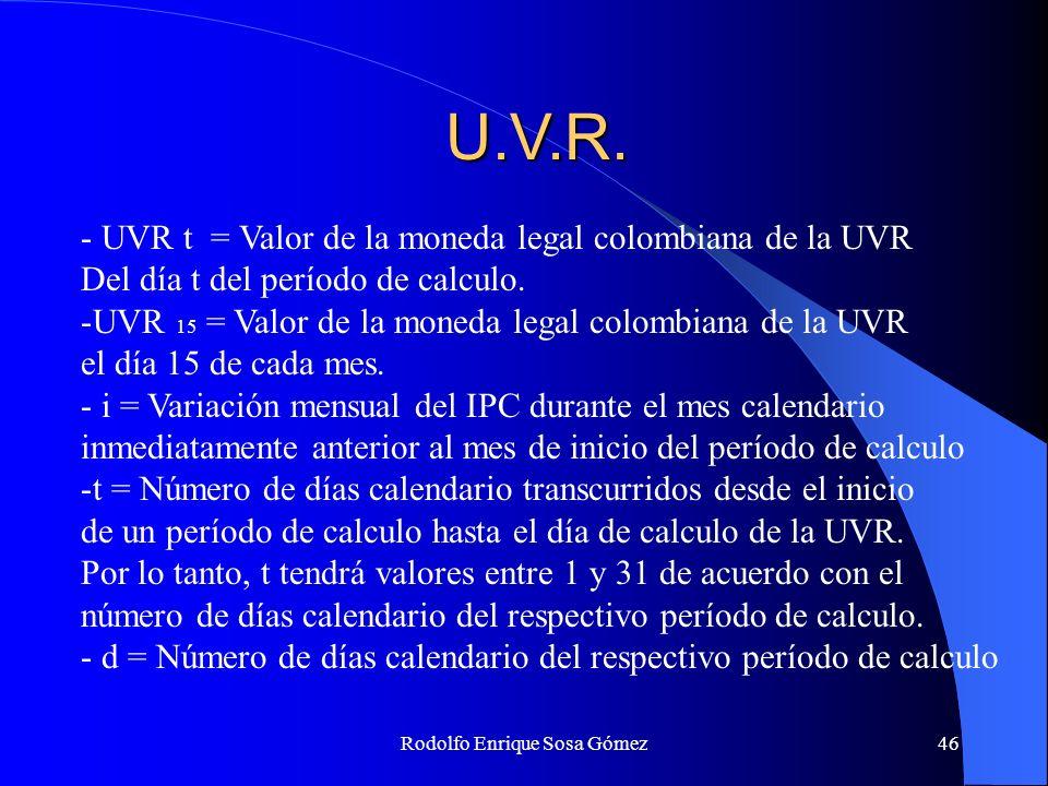 Rodolfo Enrique Sosa Gómez46 U.V.R. - UVR t = Valor de la moneda legal colombiana de la UVR Del día t del período de calculo. -UVR 15 = Valor de la mo
