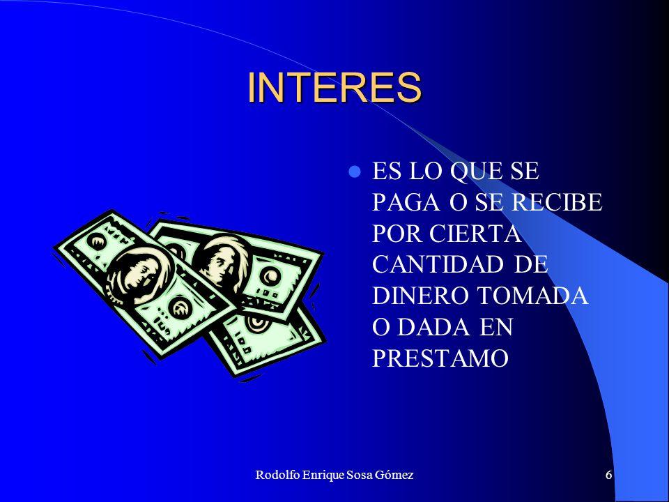 Rodolfo Enrique Sosa Gómez27 INTERES COMPUESTO Tabla para el calculo de las tasas de interés de equivalencia: