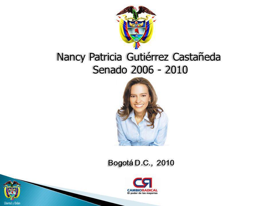 BAJO MAGDALENA Nancy Patricia Gutiérrez Castañeda Senado 2006 - 2010 MUNICIPIO POBLACION TOTAL 2009 POTENCIAL ELECTORAL VOTOS 2007 GOBERNACION CAPARRAPÍ16.581 10.3345.762 GUADUAS34.361 19.12412.637 PUERTO SALGAR16.769 10.7486.376 TOTAL PRIVINCIA 67.711 40.20624.775