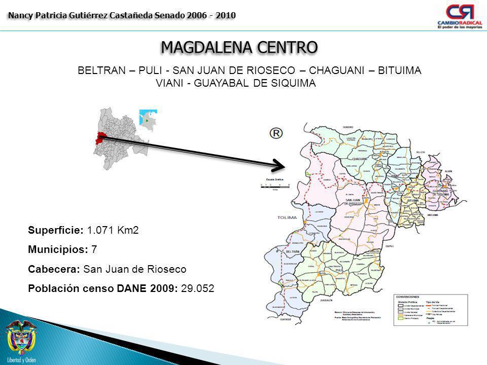 MAGDALENA CENTRO Nancy Patricia Gutiérrez Castañeda Senado 2006 - 2010 BELTRAN – PULI - SAN JUAN DE RIOSECO – CHAGUANI – BITUIMA VIANI - GUAYABAL DE S