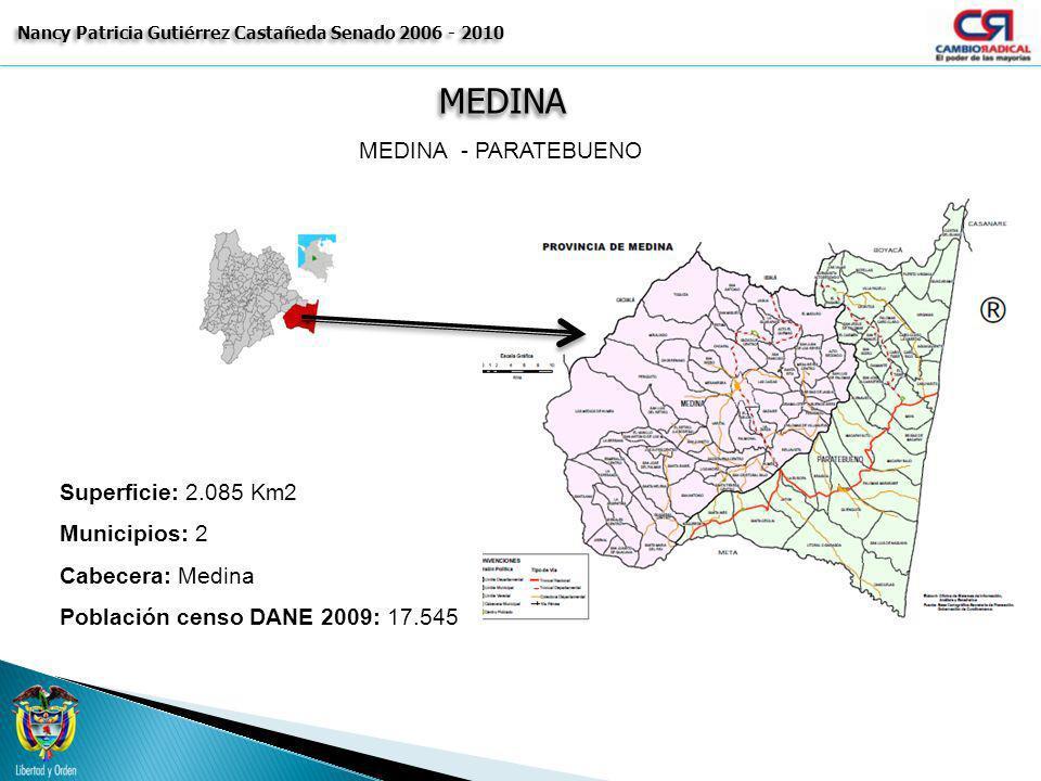 MEDINAMEDINA Nancy Patricia Gutiérrez Castañeda Senado 2006 - 2010 MEDINA - PARATEBUENO Superficie: 2.085 Km2 Municipios: 2 Cabecera: Medina Población
