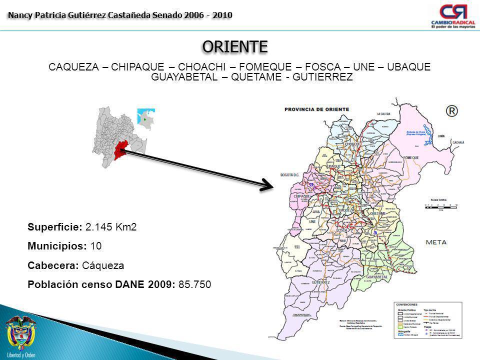ORIENTEORIENTE Nancy Patricia Gutiérrez Castañeda Senado 2006 - 2010 CAQUEZA – CHIPAQUE – CHOACHI – FOMEQUE – FOSCA – UNE – UBAQUE GUAYABETAL – QUETAM