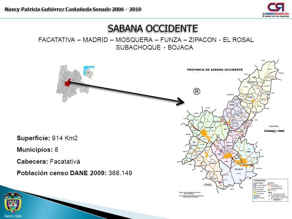 SABANA OCCIDENTE Nancy Patricia Gutiérrez Castañeda Senado 2006 - 2010 FACATATIVA – MADRID – MOSQUERA – FUNZA – ZIPACON - EL ROSAL SUBACHOQUE - BOJACA