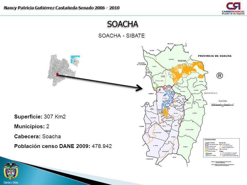 SOACHASOACHA Nancy Patricia Gutiérrez Castañeda Senado 2006 - 2010 SOACHA - SIBATE Superficie: 307 Km2 Municipios: 2 Cabecera: Soacha Población censo