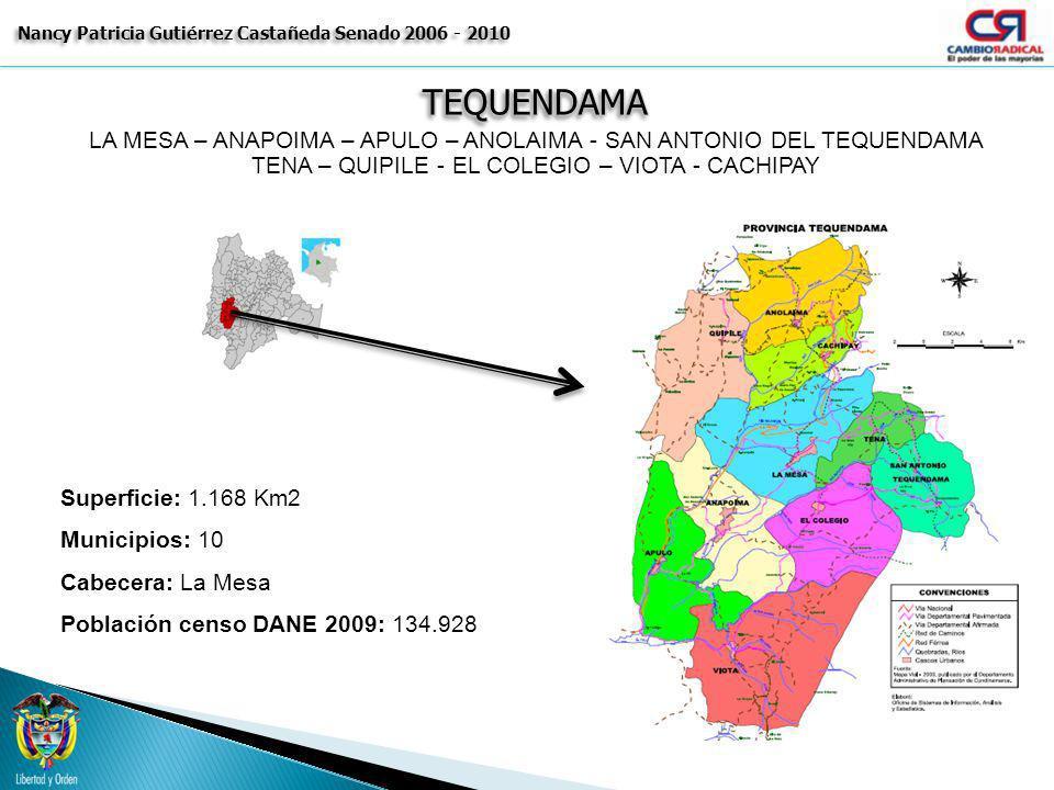 TEQUENDAMATEQUENDAMA Nancy Patricia Gutiérrez Castañeda Senado 2006 - 2010 LA MESA – ANAPOIMA – APULO – ANOLAIMA - SAN ANTONIO DEL TEQUENDAMA TENA – Q