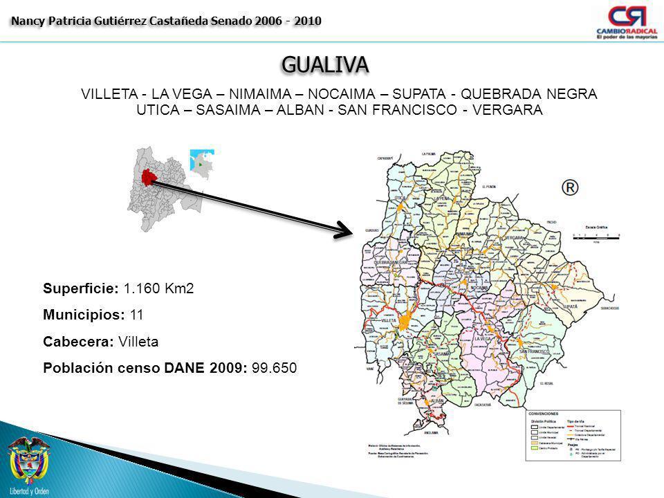GUALIVAGUALIVA Nancy Patricia Gutiérrez Castañeda Senado 2006 - 2010 VILLETA - LA VEGA – NIMAIMA – NOCAIMA – SUPATA - QUEBRADA NEGRA UTICA – SASAIMA –