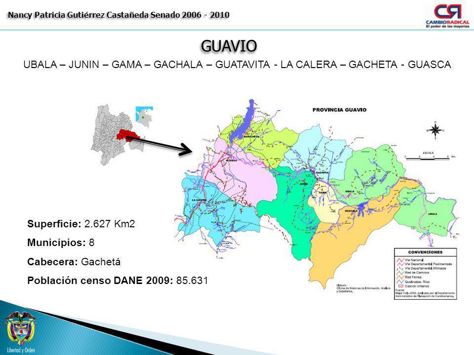 GUAVIOGUAVIO Nancy Patricia Gutiérrez Castañeda Senado 2006 - 2010 MUNICIPIO POBLACION TOTAL 2009 POTENCIAL ELECTORAL VOTOS 2007 GOBERNACION GACHALA5.811 5.0913.746 GACHETÁ10.659 9.1065.498 GAMA3.879 3.0132.042 GUASCA13.333 7.9775.454 GUATAVITA6.774 4.2593.274 JUNÍN8.462 5.5773.816 LA CALERA25.319 15.51310.193 UBALÁ11.394 8.3895.216 TOTAL PRIVINCIA 85.631 58.92539.239