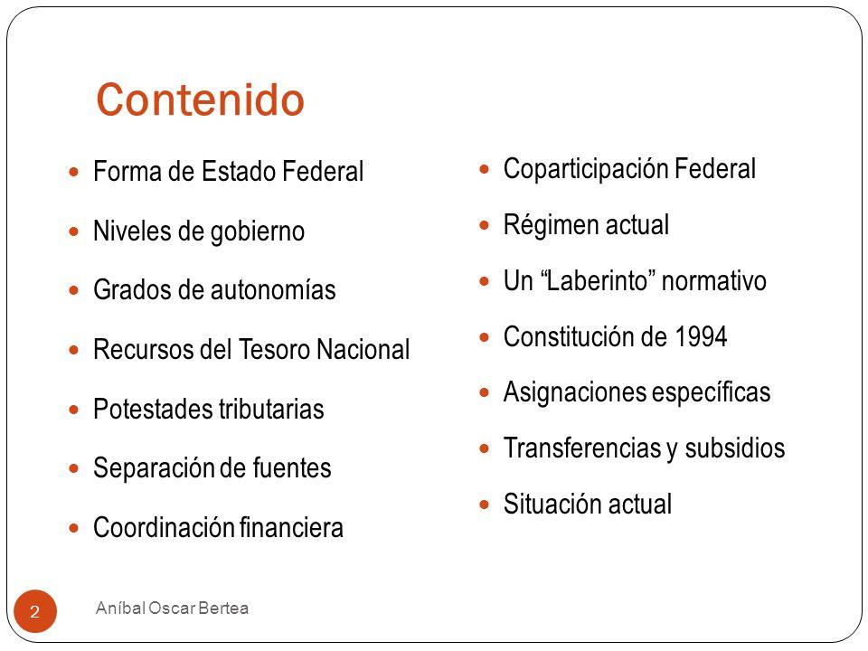 Contenido Forma de Estado Federal Niveles de gobierno Grados de autonomías Recursos del Tesoro Nacional Potestades tributarias Separación de fuentes C