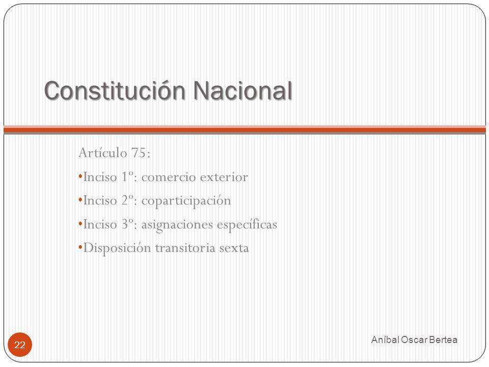 Constitución Nacional Aníbal Oscar Bertea 22 Artículo 75: Inciso 1º: comercio exterior Inciso 2º: coparticipación Inciso 3º: asignaciones específicas