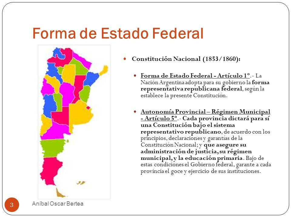Forma de Estado Federal Constitución Nacional (1853/1860): Forma de Estado Federal - Artículo 1º.- La Nación Argentina adopta para su gobierno la form