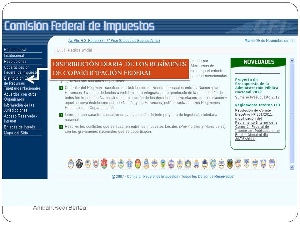 32 DISTRIBUCIÓN DIARIA DE LOS REGÍMENES DE COPARTICIPACIÓN FEDERAL