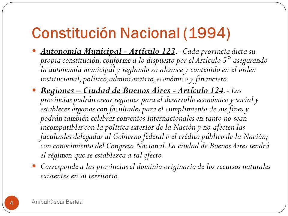 Constitución Nacional (1994) Autonomía Municipal - Artículo 123.- Cada provincia dicta su propia constitución, conforme a lo dispuesto por el Artículo
