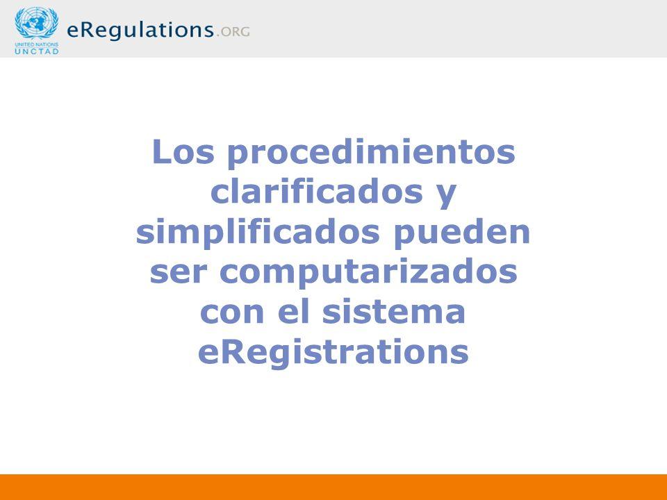 Los procedimientos clarificados y simplificados pueden ser computarizados con el sistema eRegistrations