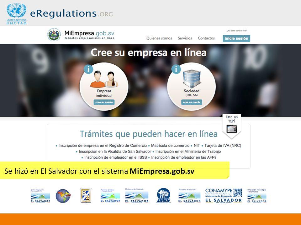 Se hizó en El Salvador con el sistema MiEmpresa.gob.sv