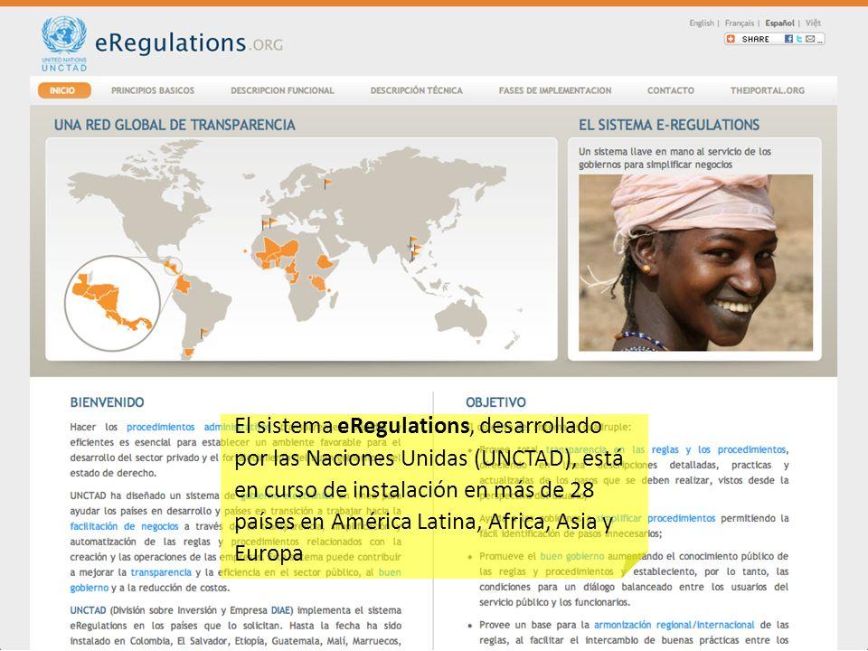 El sistema eRegulations, desarrollado por las Naciones Unidas (UNCTAD), está en curso de instalación en más de 28 países en América Latina, Africa, Asia y Europa