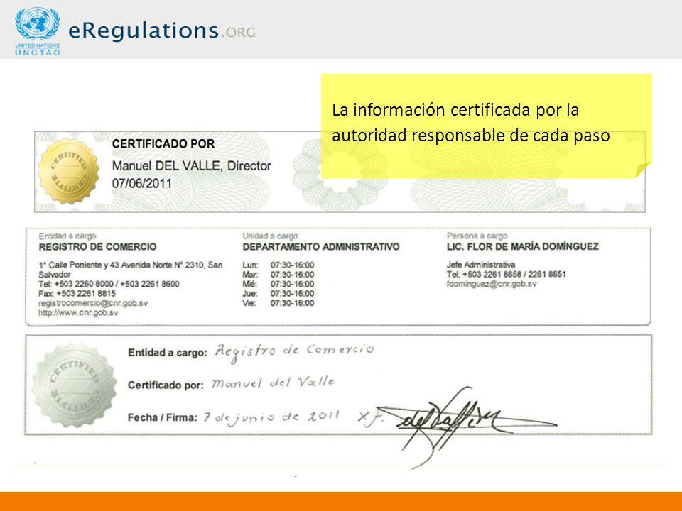 La información certificada por la autoridad responsable de cada paso