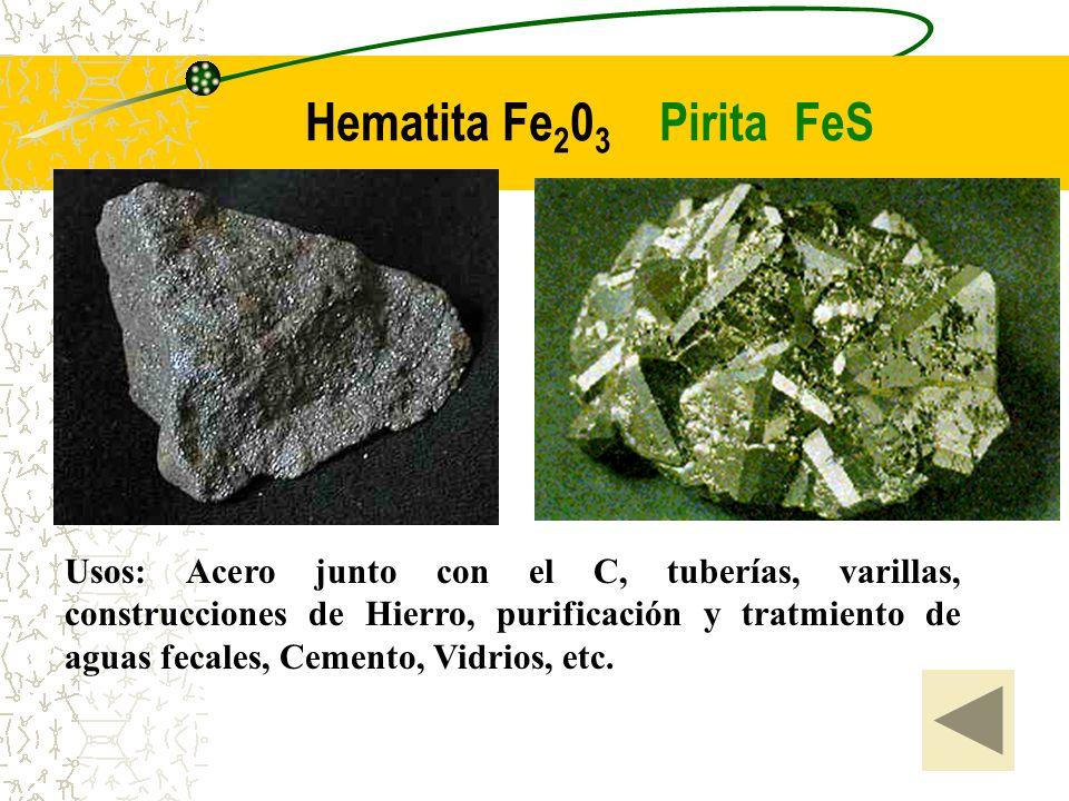 Hematita Fe 2 0 3 Pirita FeS Usos: Acero junto con el C, tuberías, varillas, construcciones de Hierro, purificación y tratmiento de aguas fecales, Cem